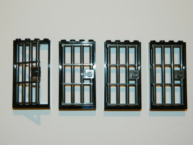 LEGO barred door gate 1x4x6 black dark grey x4 castle prison dungeon jail bars * & Lego Barred Door Gate 1x4x6 Black Dark Grey X4 Castle Prison ...