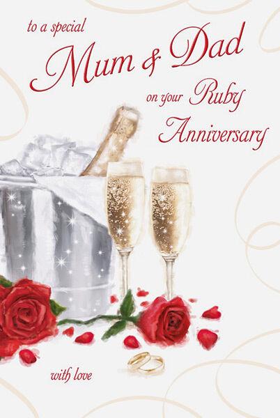 40th ruby wedding anniversary cards
