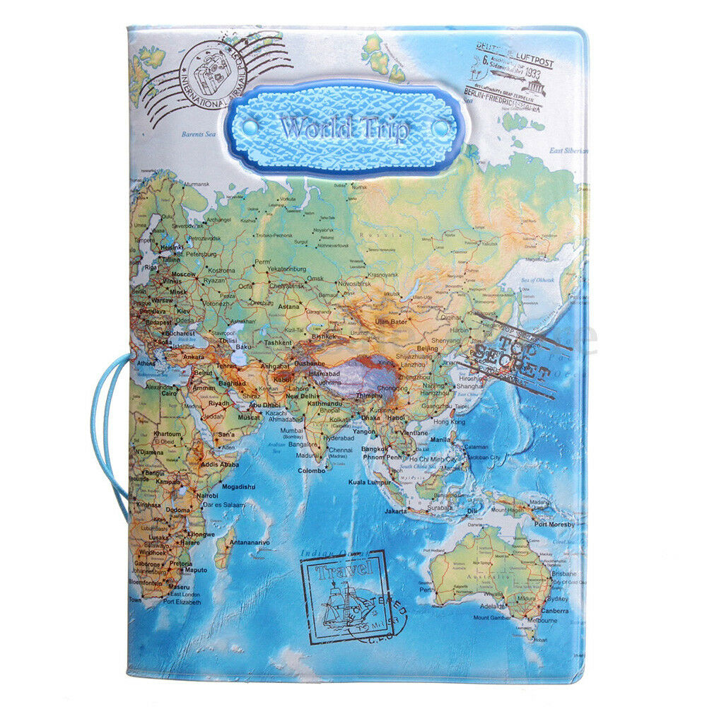 Leather world map passport holder organizer travel card case picture 11 of 11 gumiabroncs Image collections