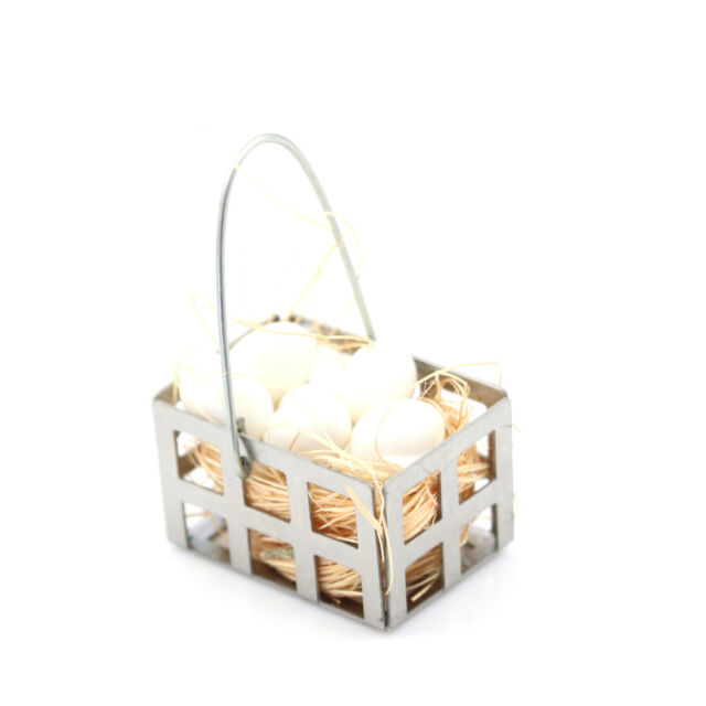 1/12 Dollhouse Furniture Miniature Metal Egg Basket Dolls House Kitchen  Decor PL