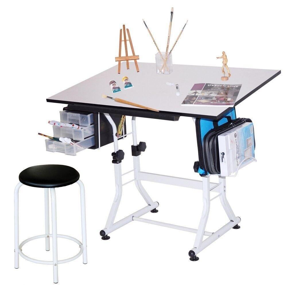 White Hobby Craft Table Desk W/ 3 Drawers U0026 Stool | Drawing Art Homework