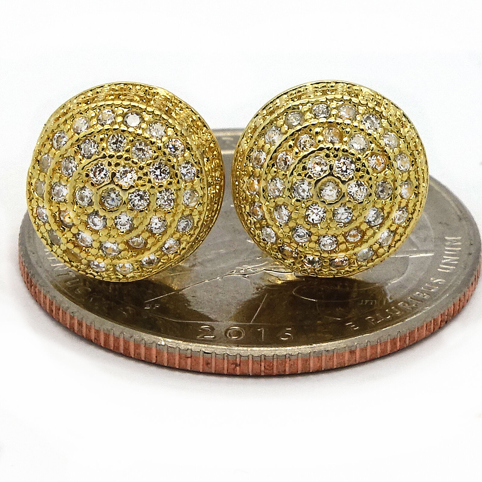 Mens Gold Plated Iced out CZ Micropave Earring Stud Round Hip Hop ...