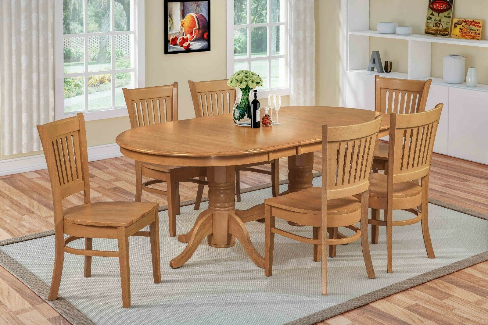 7 PC Oval Dinette Kitchen Dining Room Set 42x78 Table And 6 Chairs In Oak Be The First To Write A Review About This Product 21 Watching Picture 1 Of
