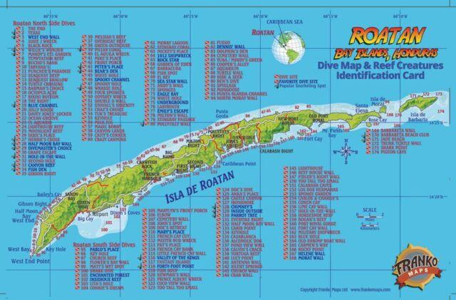 Roatan honduras dive map reef creatures guide franko - Roatan dive sites ...
