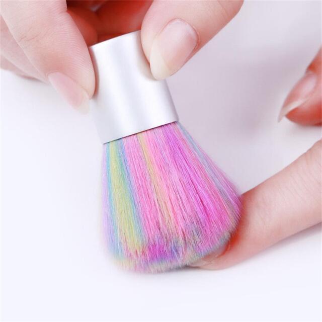 Acrylic Rainbow Fiber Hair Powder Remover Nail Art Dust Brush