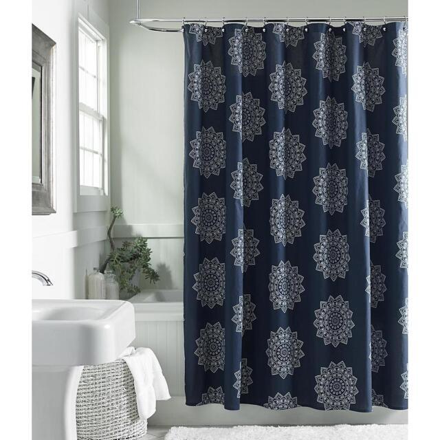 Cannon Henna Medallion 100 Cotton Shower Curtain Navy Blue