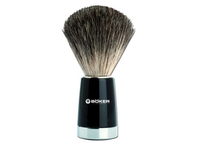 BÖKER BOKER Rasierpinsel schwarz Chrom Dachshaar shaving brush Solingen 04BO126
