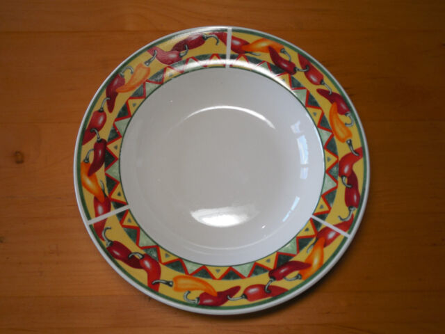 American Atelier CHILI PEPPERS Set of 7 Rimmed Bowls 9  Red Yellow : chili pepper dinnerware - Pezcame.Com