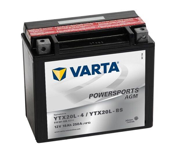 Varta Powersports AGM YTX20L-4 YTX20L-BS Motorradbatterie 18Ah 518901026 *NEU*