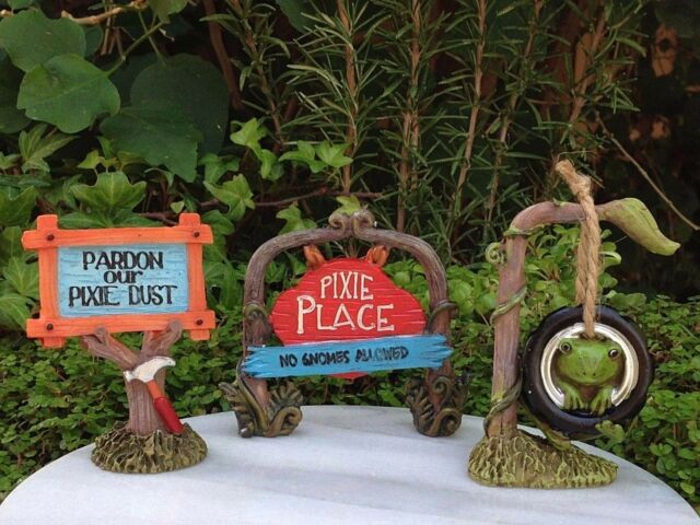 Awesome Miniature Dollhouse FAIRY GARDEN ~ Set 3 Pixie ENCHANTED FOREST Signs Tire  Swing