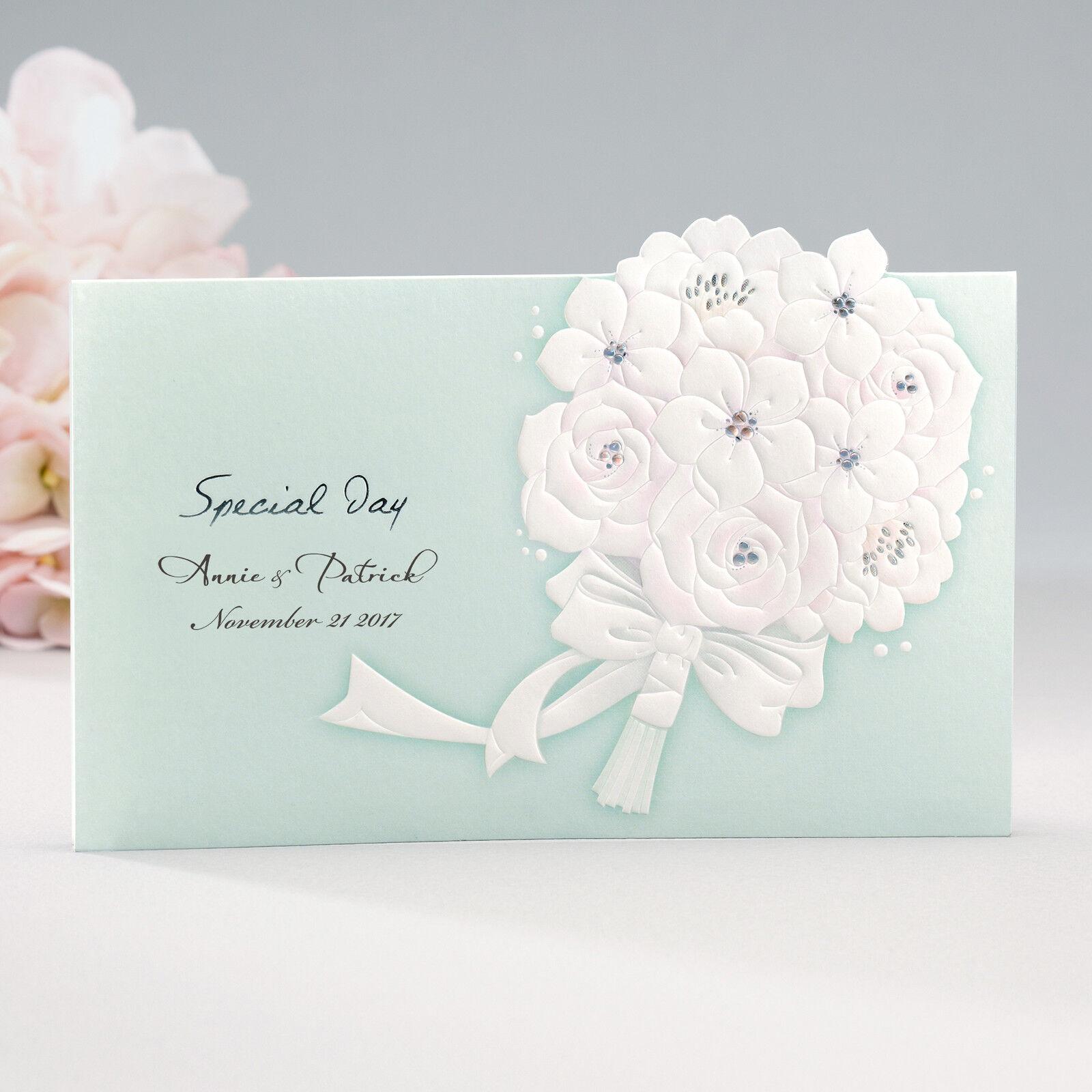 Custom Aqua Embossed Bouquet Wedding Invitations ENV & Silver Seals ...