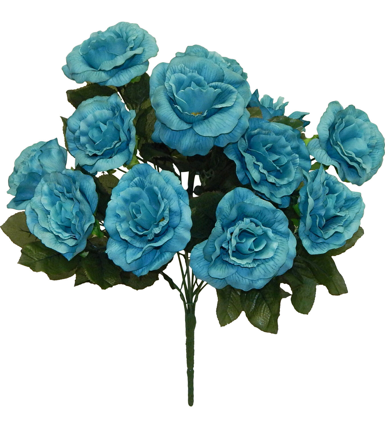 12 Open Roses Turquoise Blue Silk Wedding Flowers Bridal Bouquets ...