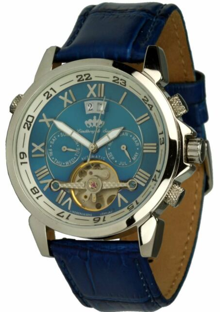 Lindberg & Sons Armbanduhr Modell Agora blau Herrenuhr Automatikuhr Lederuhrband