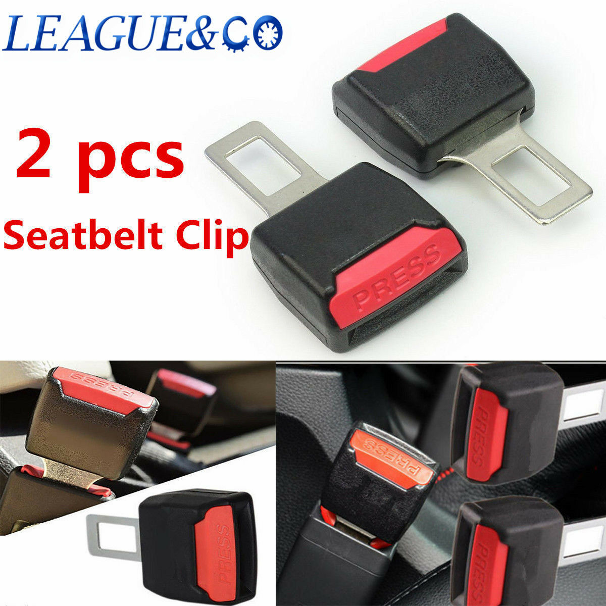 2pcs Universal Auto Car Safety Seat Belt Buckle Extension Extender ...