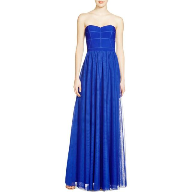 JS Collections Blue Illusion Sweetheart Strapless Mesh Formal Gown 6 ...