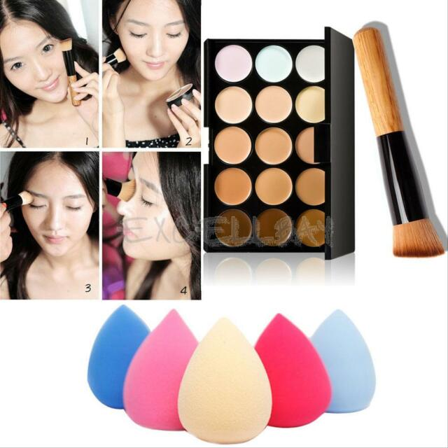 For Travelling 15 Colors Face Cream Makeup Concealer Palette+Sponge Puff Brush