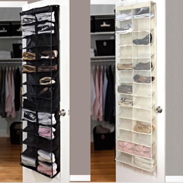 26 Pocket Over Door Hanging Shoe Rack Shelf Organizer Holder Storage Wall  Closet