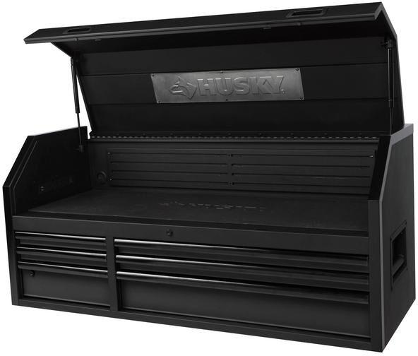 large steel heavy duty husky 52 in 6 drawer tool chest storage textured black ebay. Black Bedroom Furniture Sets. Home Design Ideas