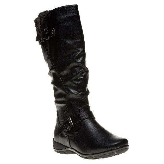 New Womens Lotus Black Calista Synthetic Boots Knee-High Zip