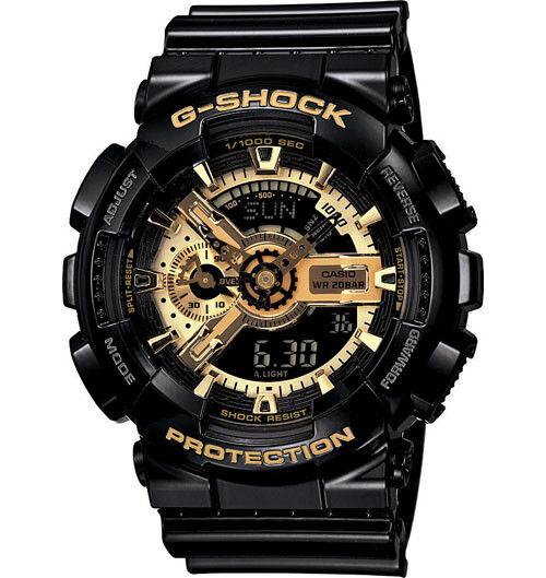 Casio G-Shock Analogue/Digital Mens Black/Gold X Series Watch GA-110GB-1A