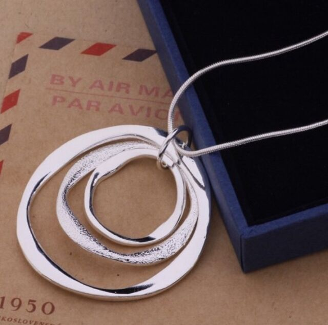 925 STERLING SILVER CLASSIC LARGE ROUND PENDANT NECKLACE  CHAIN GIFT