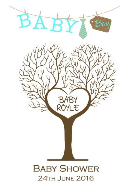 A3 Personalised Baby Shower Fingerprint Tree Print Alternative Guest