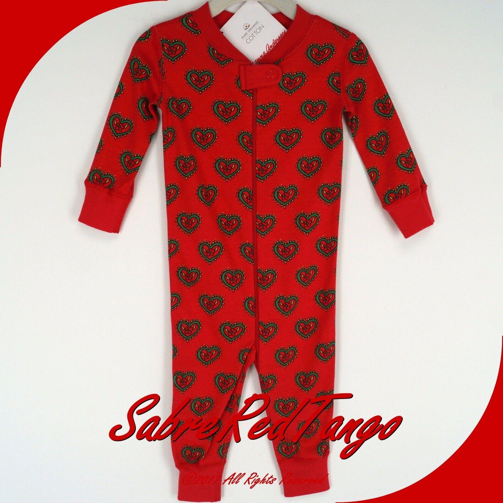 Hanna Andersson Baby Organic Zip Sleeper Swedish Heart 90 3t 3