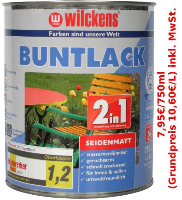 750 ml wilckens 2in1 buntlack lack farbe moosgr n seidenmatt ebay. Black Bedroom Furniture Sets. Home Design Ideas