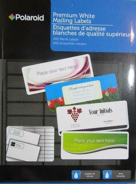 polaroid premium white mailing labels 240 ct label size 2 5 8 x 1
