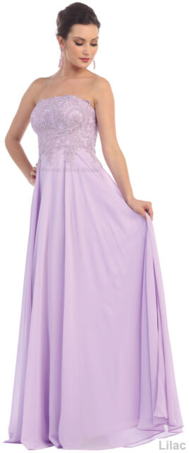 Bridesmaids Strapless Evening Prom Dress Formal Flowy Corset Lace Up