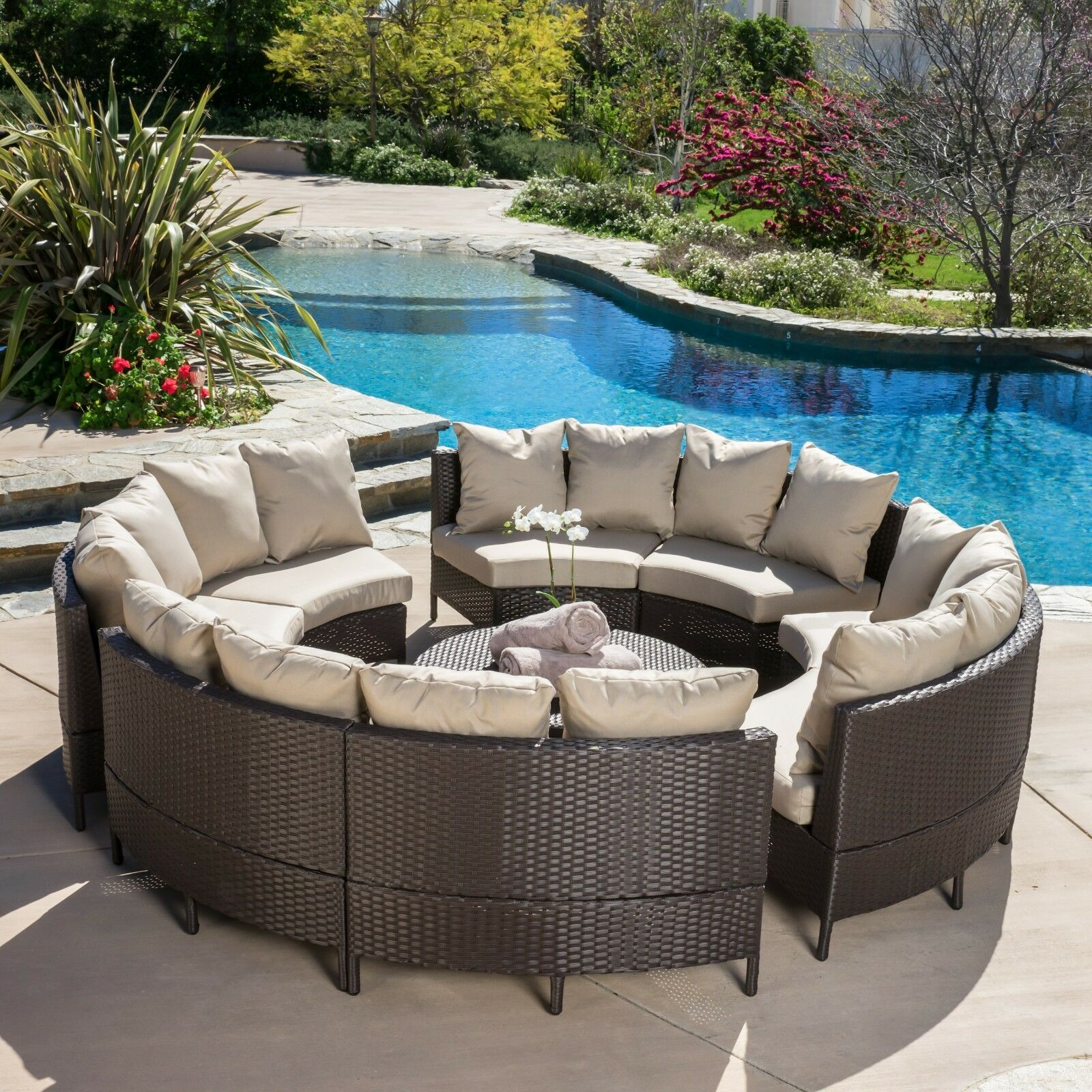 Elegant Outdoor Patio Furniture 10pc Dark Brown PE Wicker Sofa
