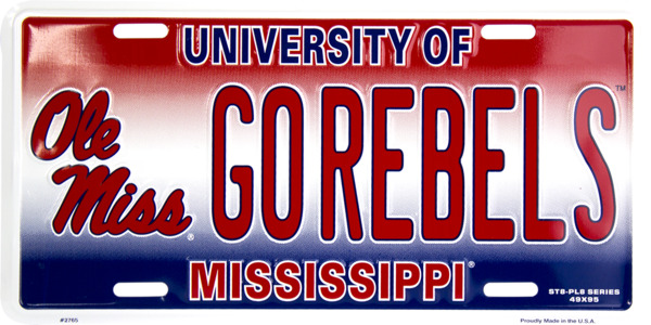 University Of Mississippi Ole Miss Go Rebels Car Truck Auto Tag