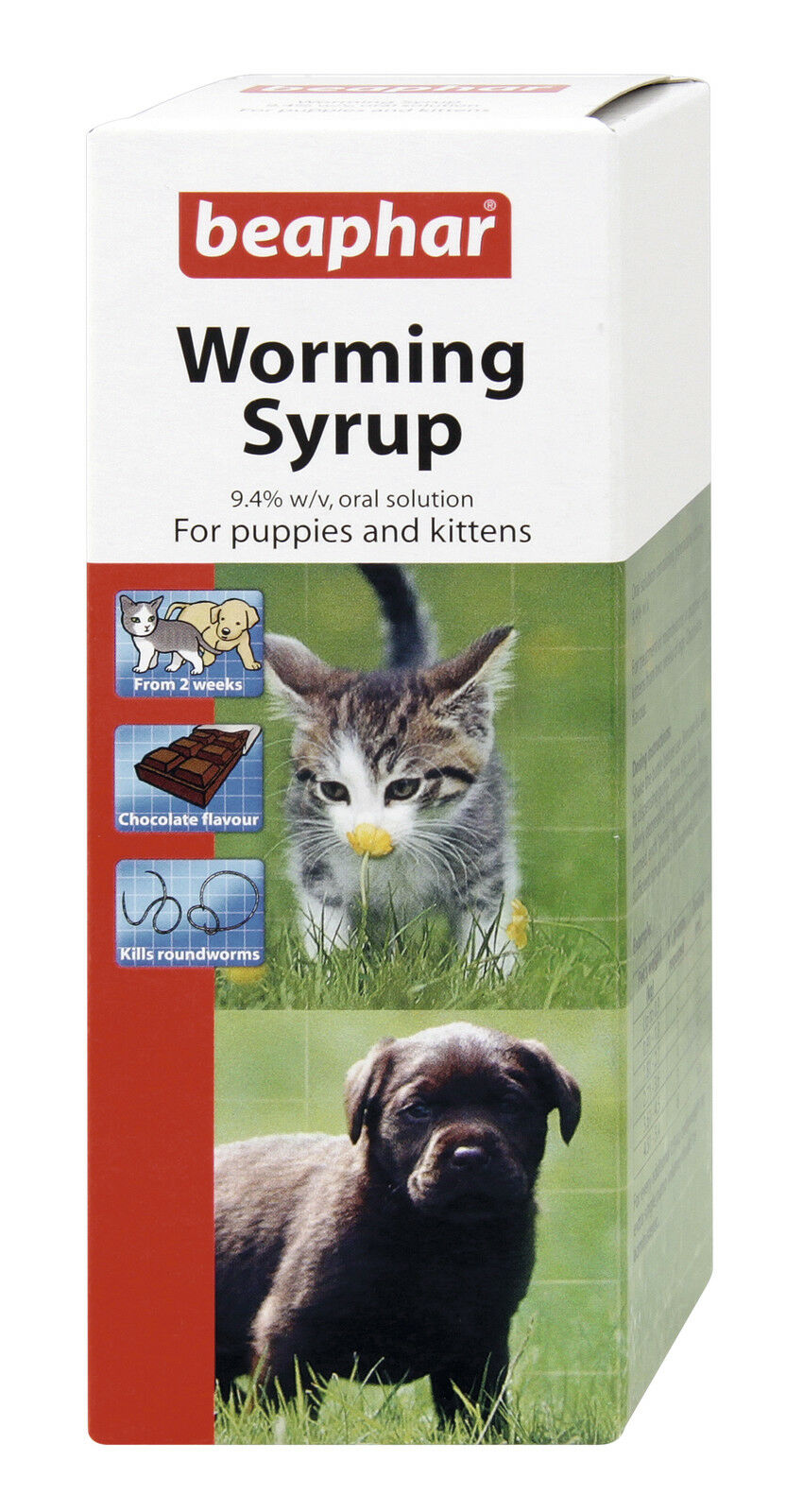 Beaphar Worming Syrup for Puppies Kittens Dogs Cats Worm Treatment