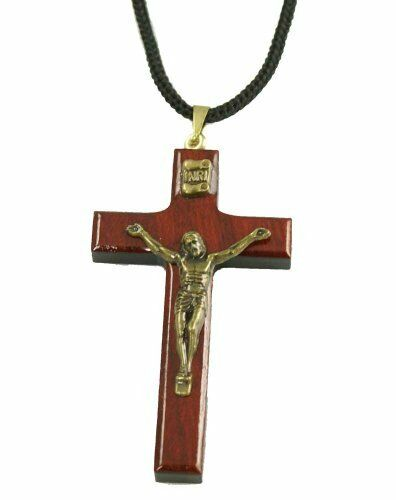 Mens cherry wood cross necklace crucifix pendant rope jewelry mens cherry wood cross necklace crucifix pendant rope jewelry catholic favor mozeypictures Image collections
