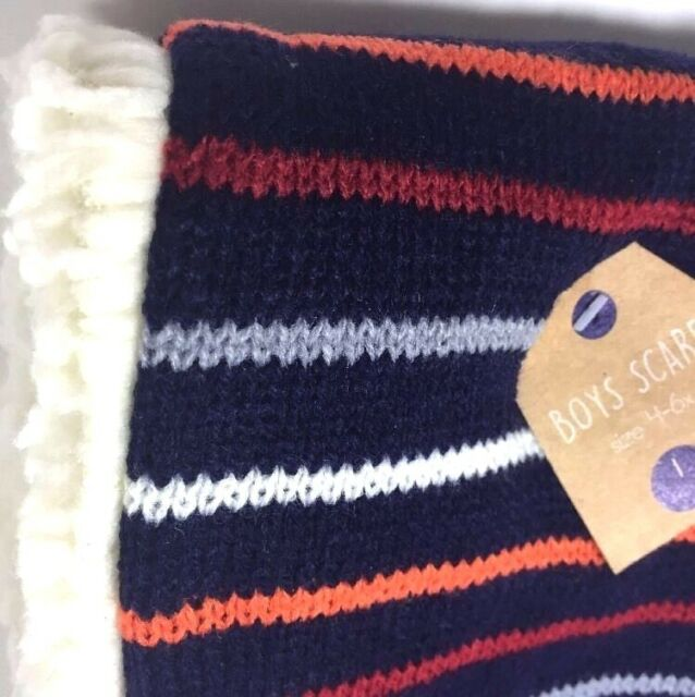 Boys Winter Scarf Striped Navy Blue Red Orange Gray Soft Faux Fur