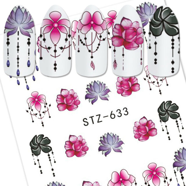 6 Sheets Pro 3d Nail Art Transfer Sticker Flower Decals Manicure ...