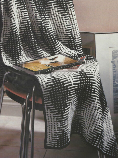 Afghan Knitting Pattern Aran Blanketthrow Harlequin Texture 469 Ebay