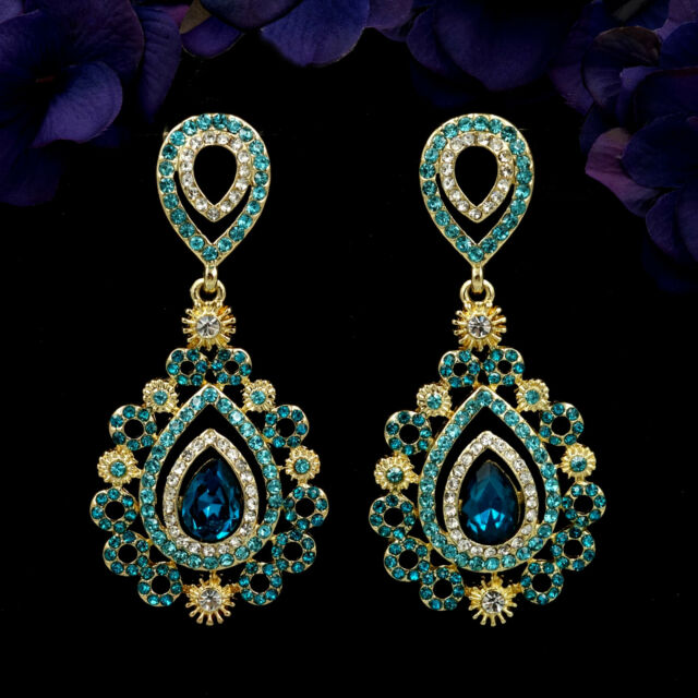 18k gold plated gp blue crystal rhinestone drop chandelier dangle 18k gold plated gp blue crystal rhinestone drop chandelier dangle earrings 5996 aloadofball Image collections