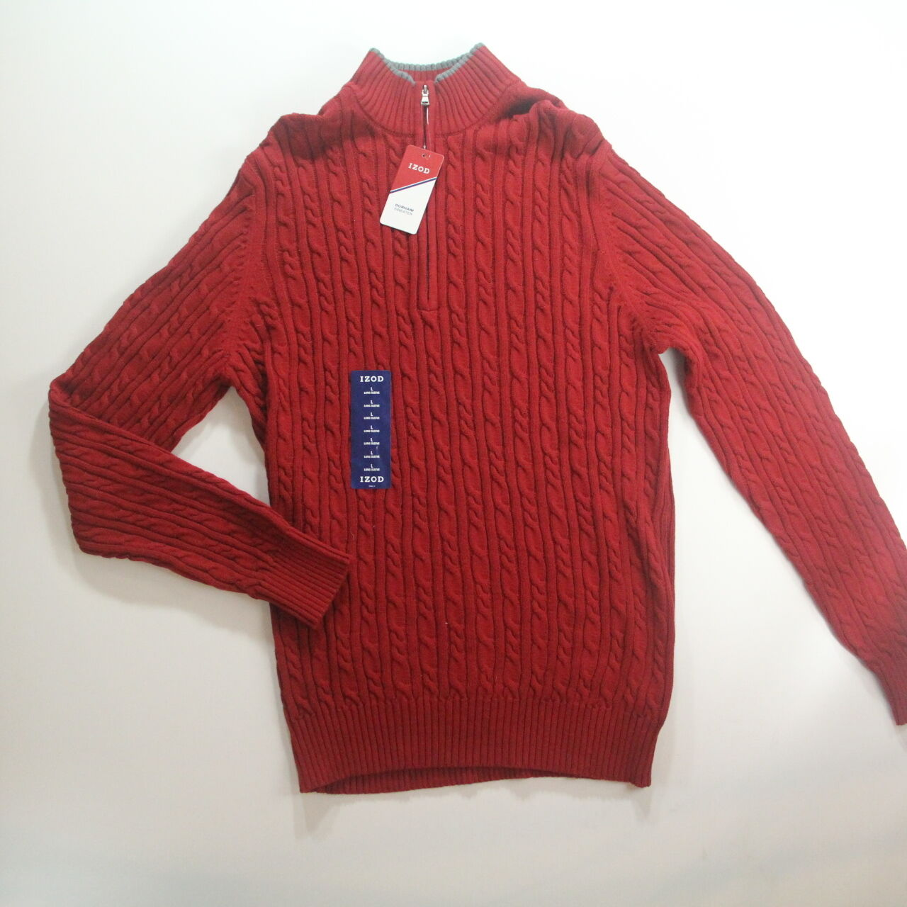 IZOD 1/4 Zip Sweater Durham Cable Knit Red Dahlia Men's Size Large ...
