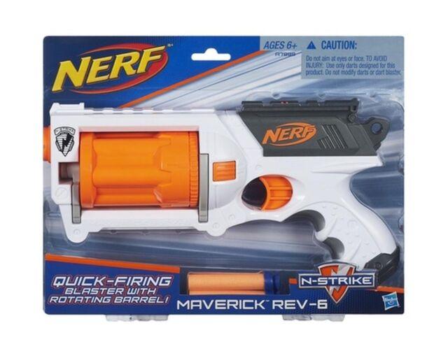 Hasbro Dart Gun Nerf N-Strike White Maverick REV-6 Blaster