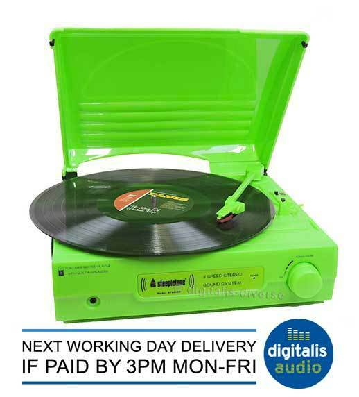 Steepletone Green ST9008B Mains Battery Operated 3 Speed Turntable Record Player