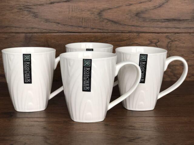 Roscher Fine Porcelain Wood Grain RARE Design White Cups Mugs Set 4 ...