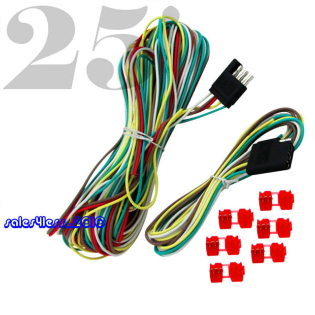 25\' 4 Way Trailer Wiring Connection Kit Flat Wire Extension ...