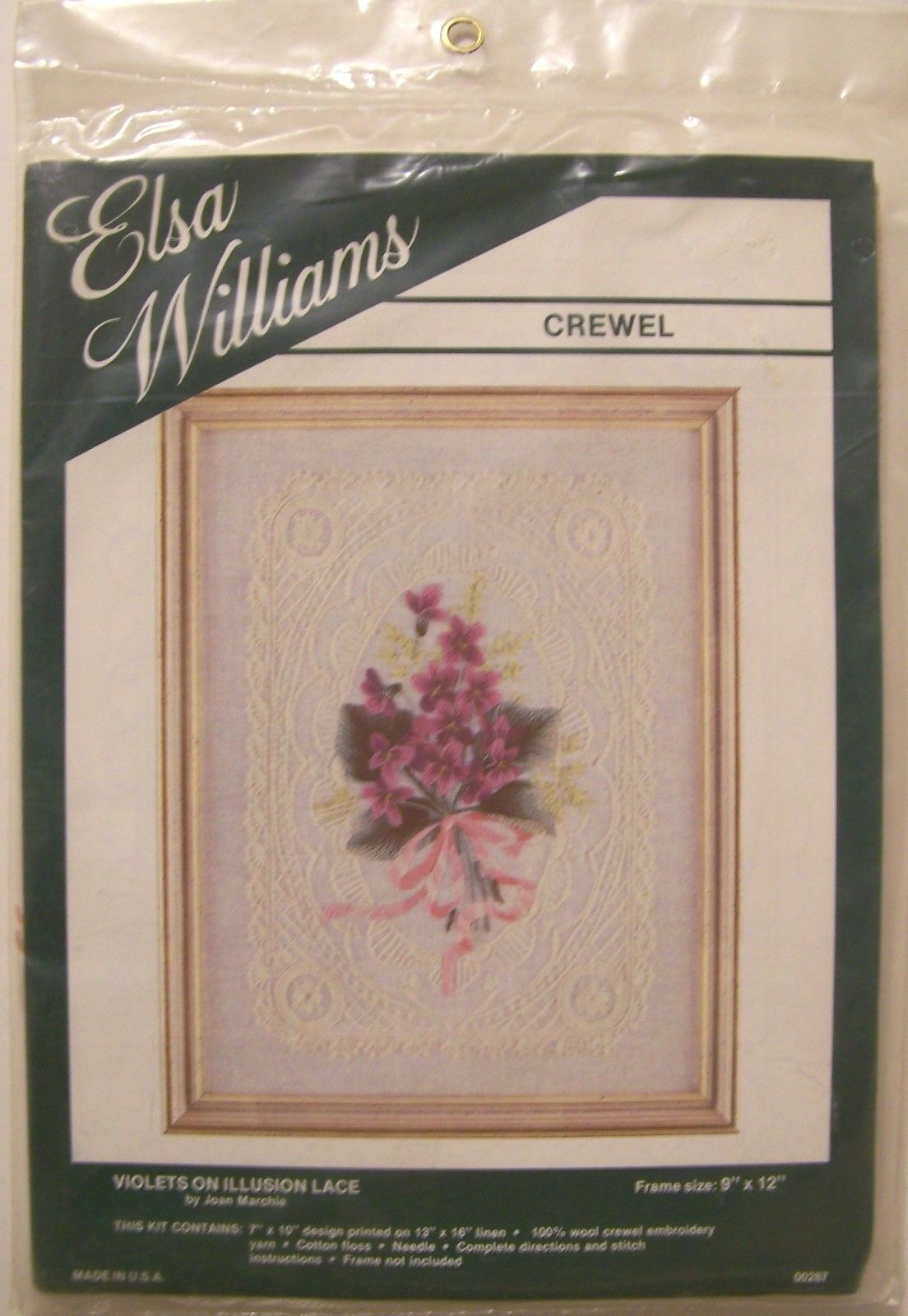 Elsa Williams Crewel Violets On Illusion Lace 00287 Embroidery Kit