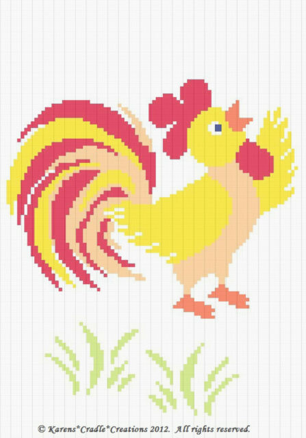Crochet Patternpatterns Rooster Graph Afghan Pattern Chart Ebay
