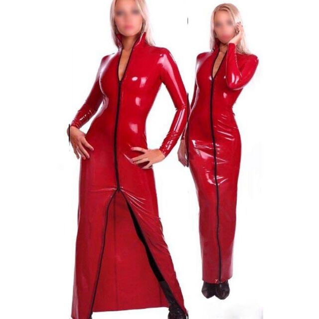 Red Latex Dress Rubber Evening Dresses Party Long Sleeve ...
