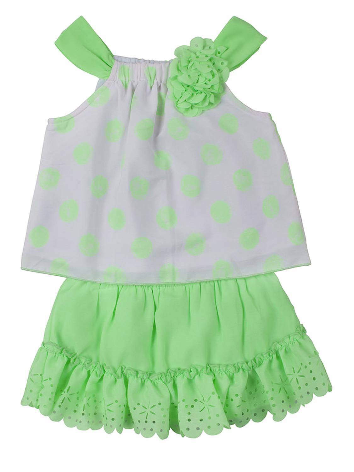 caa6d08ec822 Little Lass Infant Girls Green White Polka Dot Top Scooter Outfit 2 ...