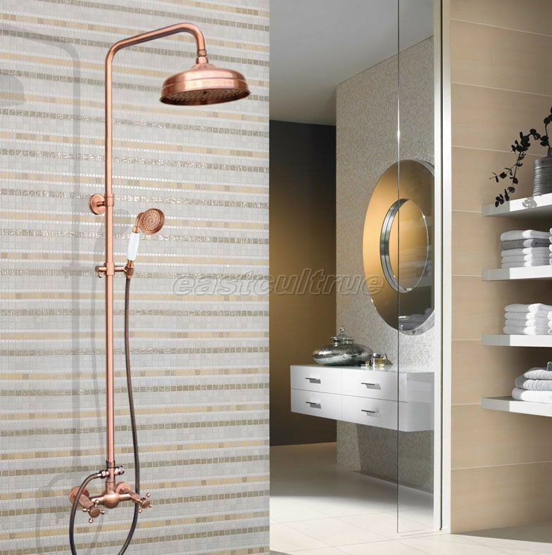 Antique Red Copper Wall Mounted Bathroom Rain Shower Faucet Set ...