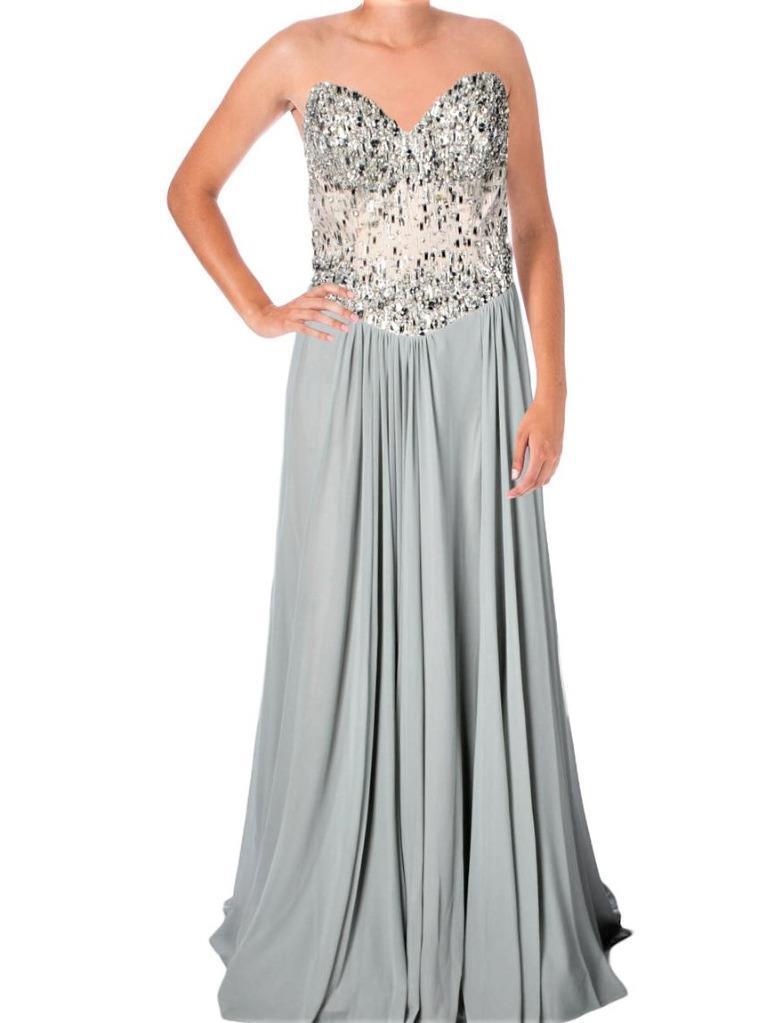 Terani Couture 6959 Silver Mesh Strapless Prom Semi-formal Dress ...