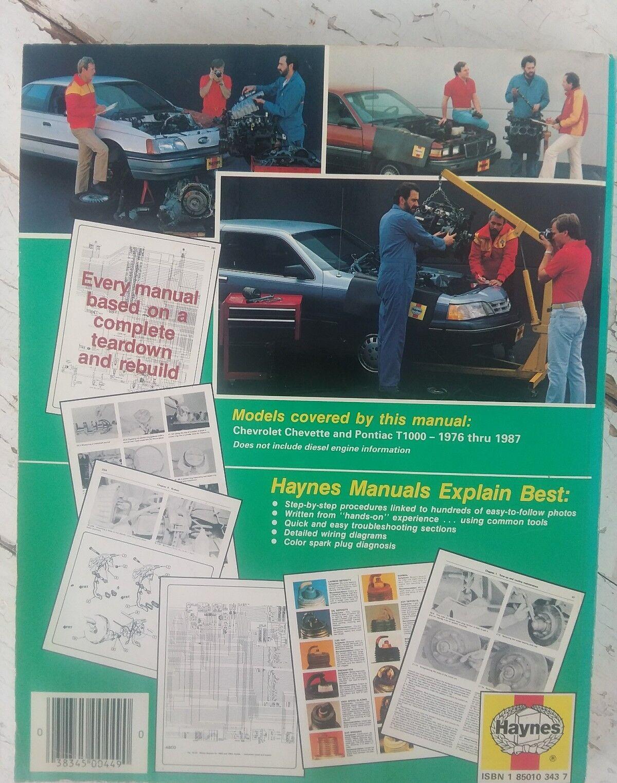 Haynes Automotive Repair Manual Chevrolet Chevette Pontiac T1000 Spark Plug Wiring Diagram 1976 1987 Gas Ebay